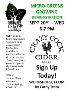 Flyer MicroGreens Demo Cidery by Cathy T